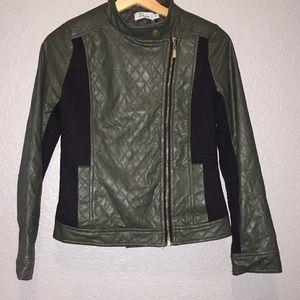 ITALIA GOGO SZ S faux leather jacket, green&black